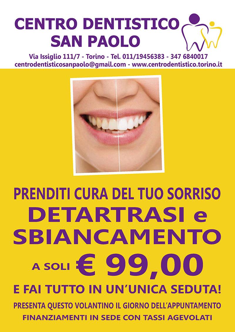 Promozione Centro Dentistico San Paolo Torino per Detartrasi e sbiancamento